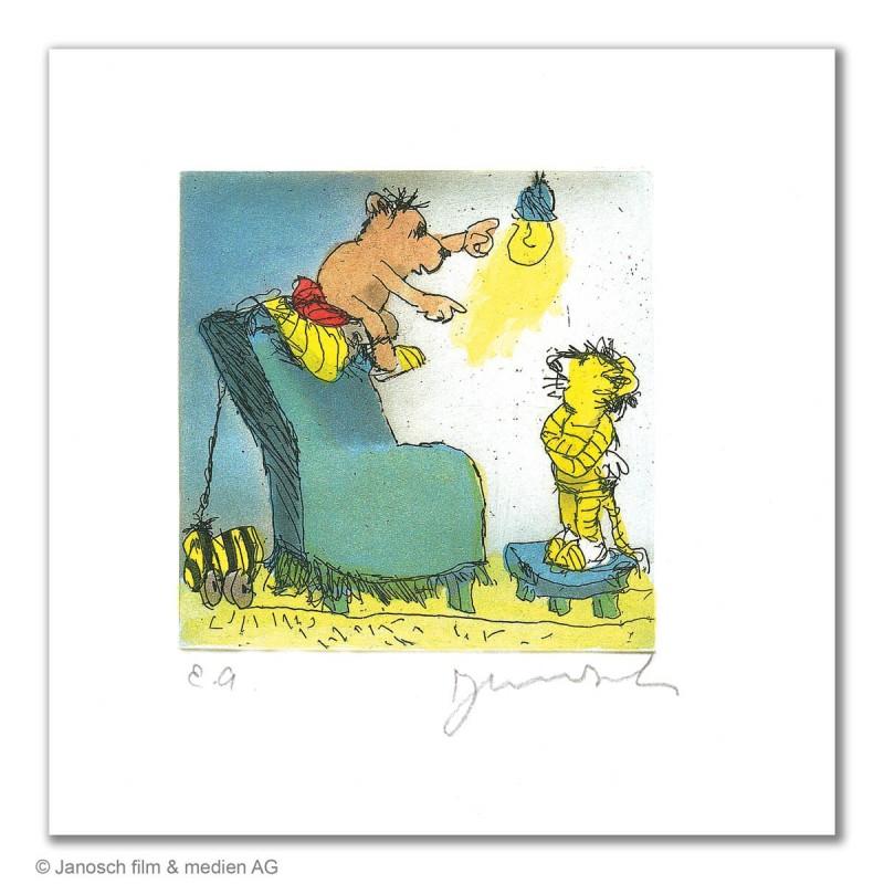 """Original Bild """"Ich sag dir was oller Tiger"""" von Janosch - Kunst mit Zertifikat kaufen"""
