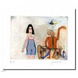 """Original Bild """"Ich und mein Mann Manni Manngold mit seinem Rad"""" von Janosch - Kunst mit Zertifikat kaufen"""