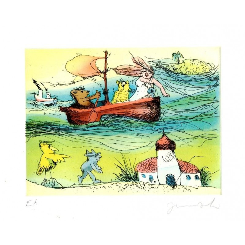 """Original Bild """"Im Boot nach Panama"""" von Janosch - Kunst mit Zertifikat kaufen"""
