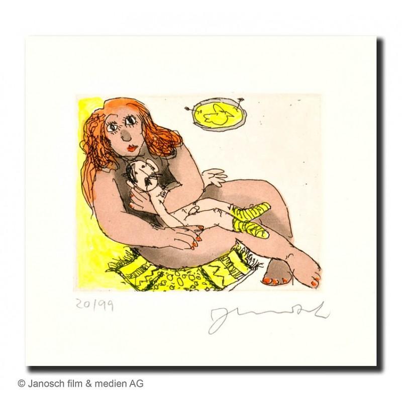 """Original Bild """"Luise schützt mich"""" von Janosch - Kunst mit Zertifikat kaufen"""