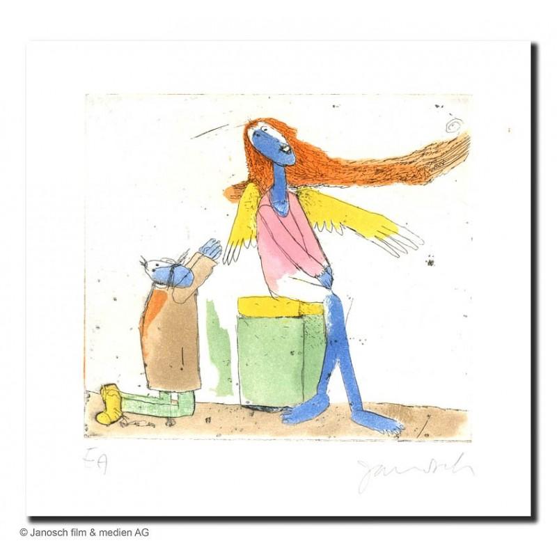 """Original Bild """"Mandelstädt wirbt um einen Engel 2003"""" von Janosch - Kunst mit Zertifikat kaufen"""