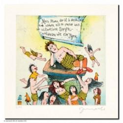 """Original Bild """"Mein Mann der ist in diesem Jahr noch schöner (Tigerhosensieger)"""" von Janosch - Kunst mit Zertifikat kaufen"""