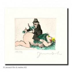 """Original Bild """"Mein Mann ist der Geiger"""" von Janosch - Kunst mit Zertifikat kaufen"""