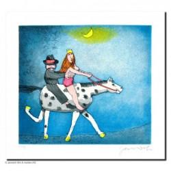 """Original Bild """"Nächtlicher Hochzeitsritt"""" von Janosch - Kunst mit Zertifikat kaufen"""