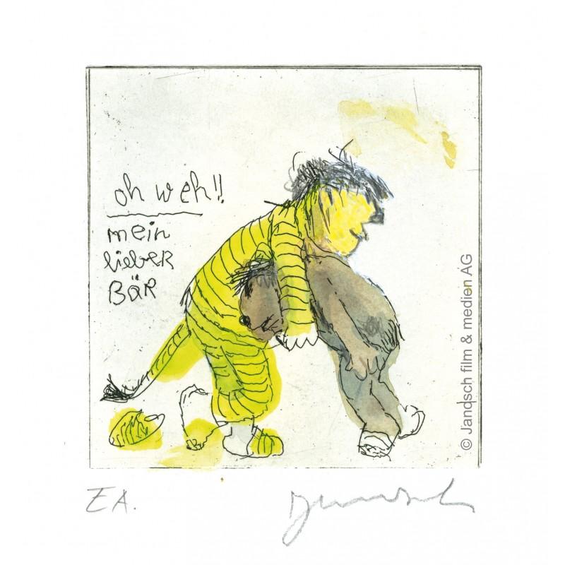 """Original Bild """"Oh Weh mein lieber Bär"""" von Janosch - Kunst mit Zertifikat kaufen"""