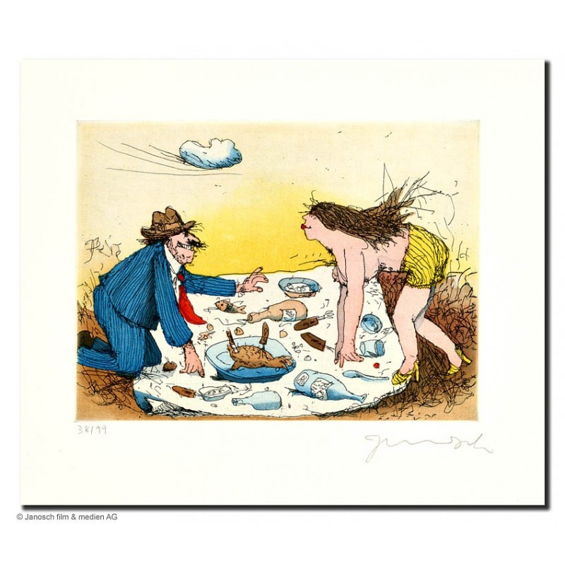 """Original Bild """"Picknick mit Lydia"""" von Janosch - Kunst mit Zertifikat kaufen"""