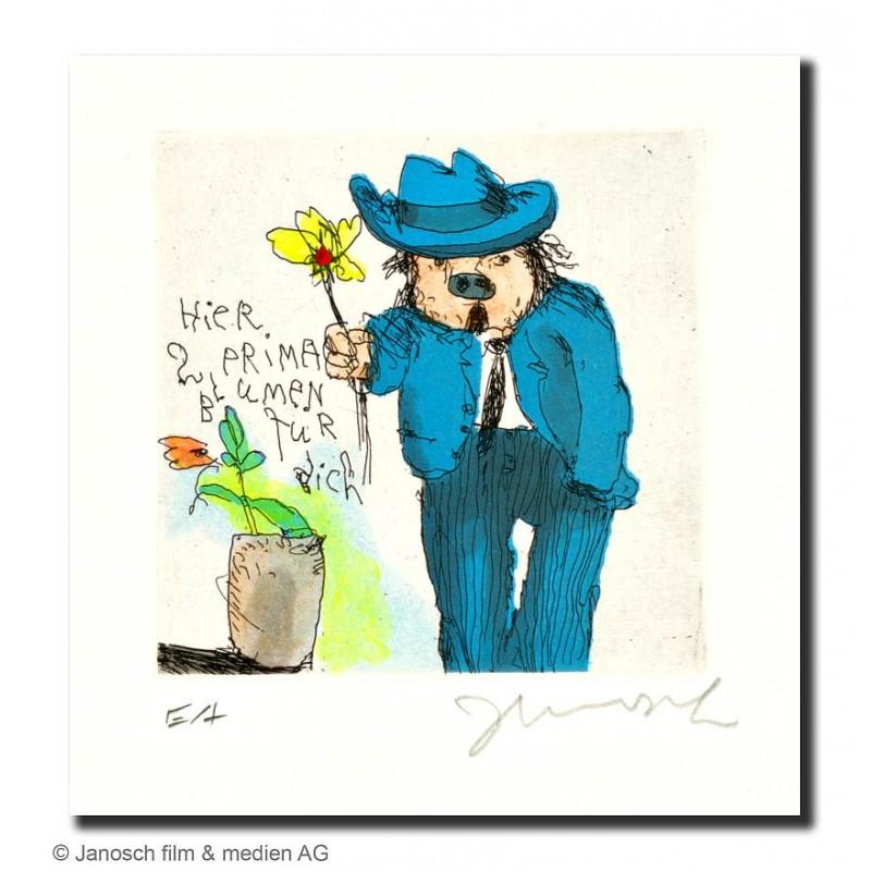"""Original Bild """"Prima Blumen für Dich"""" von Janosch - Kunst mit Zertifikat kaufen"""