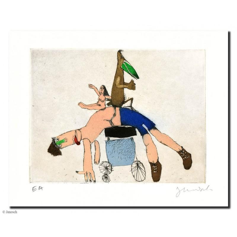 """Original Bild """"Radfahrer Alptraum"""" von Janosch - Kunst mit Zertifikat kaufen"""