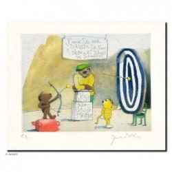 """Original Bild """"Schissen Sie ins Blaue"""" von Janosch - Kunst mit Zertifikat kaufen"""