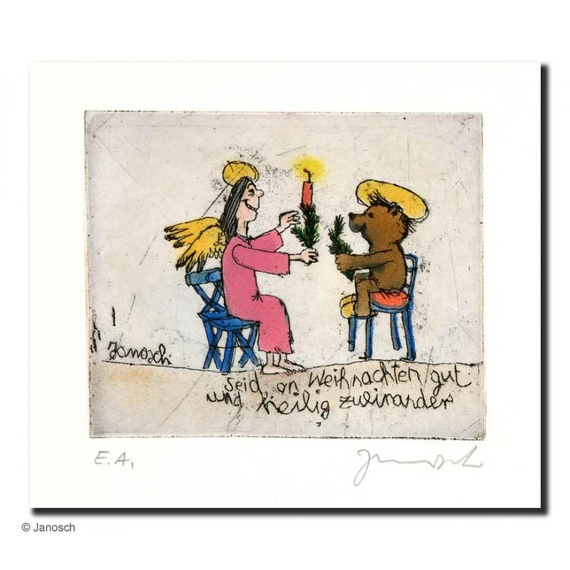 """Original Bild """"seid an Weihnachten gut und heilig zueinander"""" von Janosch - Kunst mit Zertifikat kaufen"""