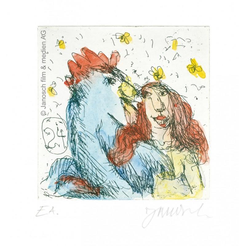 """Original Bild """"Sie liebte einen Gockelhahn"""" von Janosch - Kunst mit Zertifikat kaufen"""