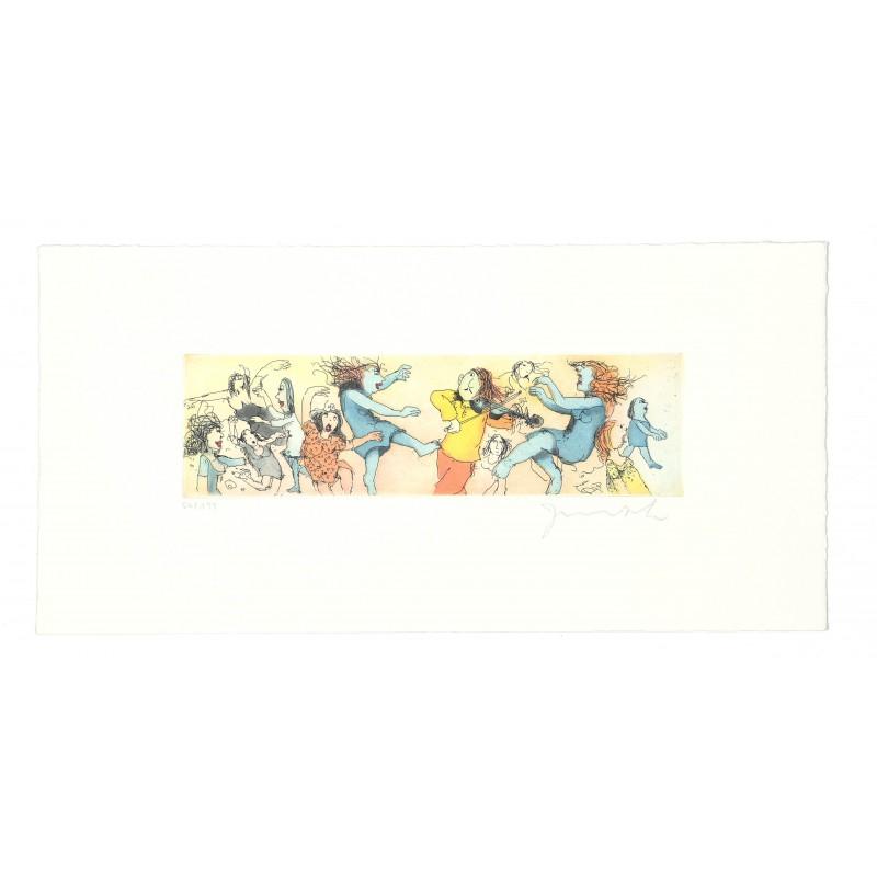 """Original Bild """"Spielt Waloszek auf der Geige"""" von Janosch - Kunst mit Zertifikat kaufen"""