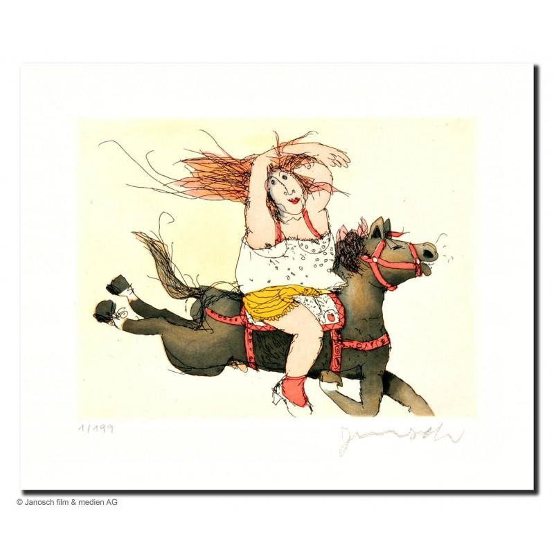 """Original Bild """"Susanne hat ein Pferd Juche"""" von Janosch - Kunst mit Zertifikat kaufen"""