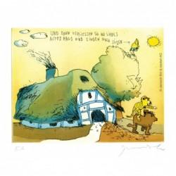 """Original Bild """"Und dann verliessen Sie ihr liebes altes Haus und gingen nach Süden"""" von Janosch - Kunst mit Zertifikat kaufen"""