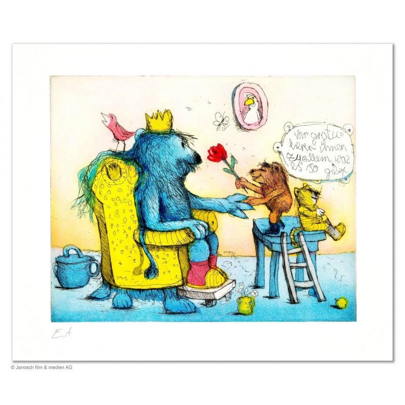 """Original Bild """"Wir gratulieren Ihnen zu allem was es so gibt"""" von Janosch - Kunst mit Zertifikat kaufen"""
