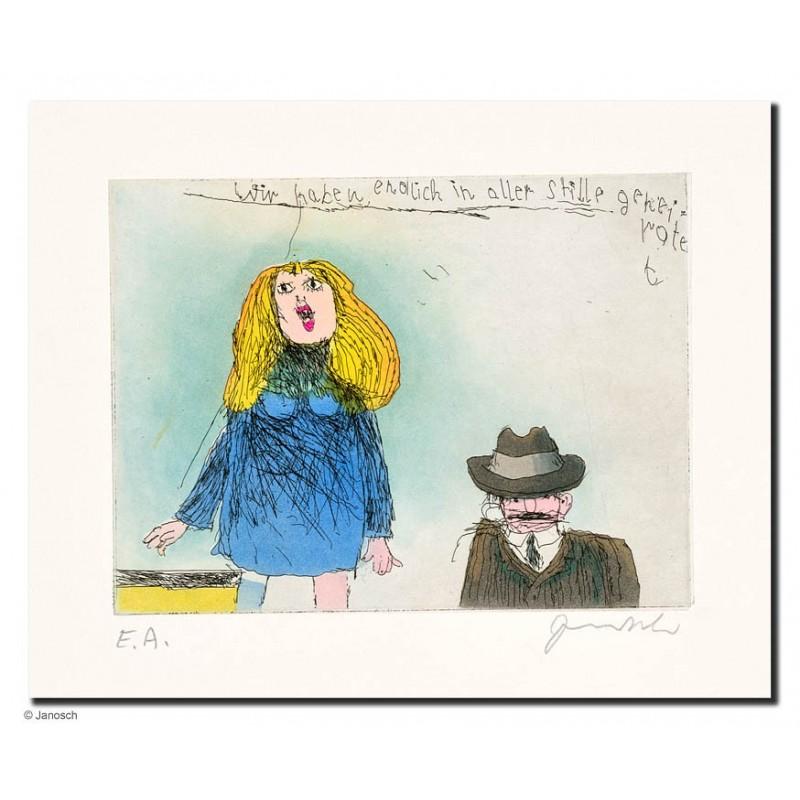 """Original Bild """"wir haben endlich in aller Stille geheiratet"""" von Janosch - Kunst mit Zertifikat kaufen"""
