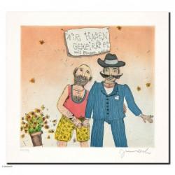 """Original Bild """"wir haben geheiratet (Jungs)"""" von Janosch - Kunst mit Zertifikat kaufen"""
