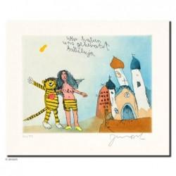 """Original Bild """"wir haben geheiratet halleluja"""" von Janosch - Kunst mit Zertifikat kaufen"""
