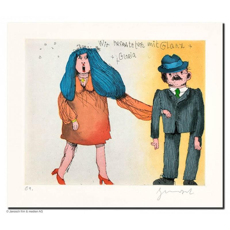 """Original Bild """"wir haben geheiratet mit Glanz und Gloria"""" von Janosch - Kunst mit Zertifikat kaufen"""