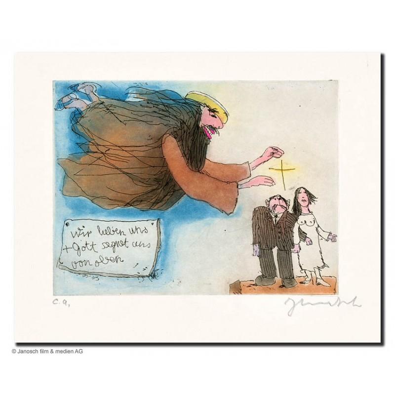 """Original Bild """"wir lieben uns + Gott segnet uns von Oben"""" von Janosch - Kunst mit Zertifikat kaufen"""