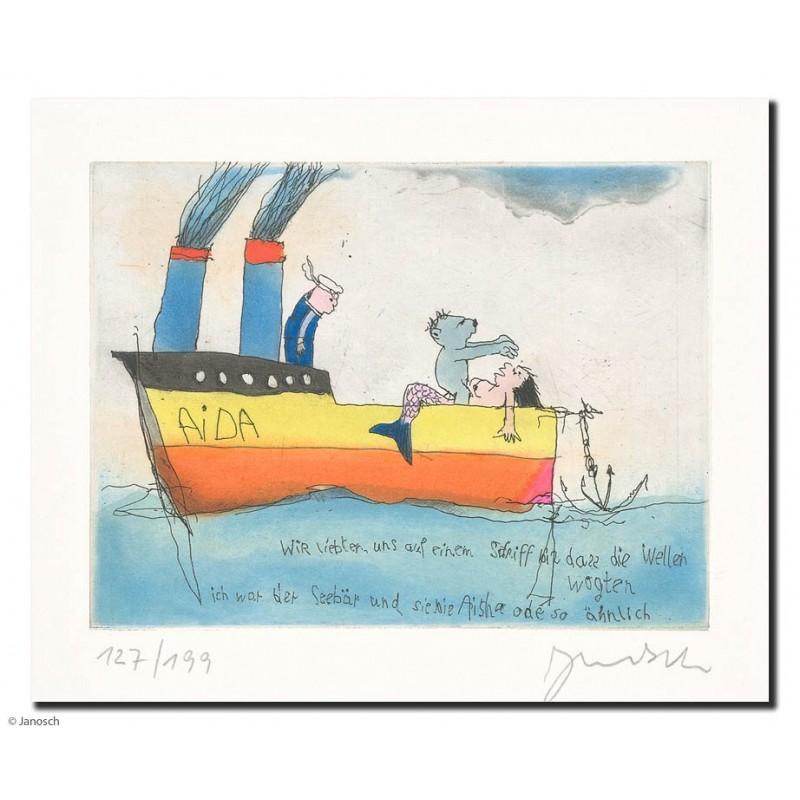 """Original Bild """"Wir liebten uns auf einem Schiff bis dass die"""" von Janosch - Kunst mit Zertifikat kaufen"""