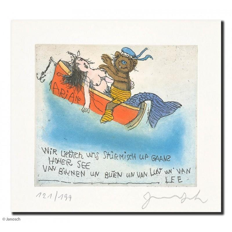 """Original Bild """"wir liebten uns auf ganz hoher See"""" von Janosch - Kunst mit Zertifikat kaufen"""