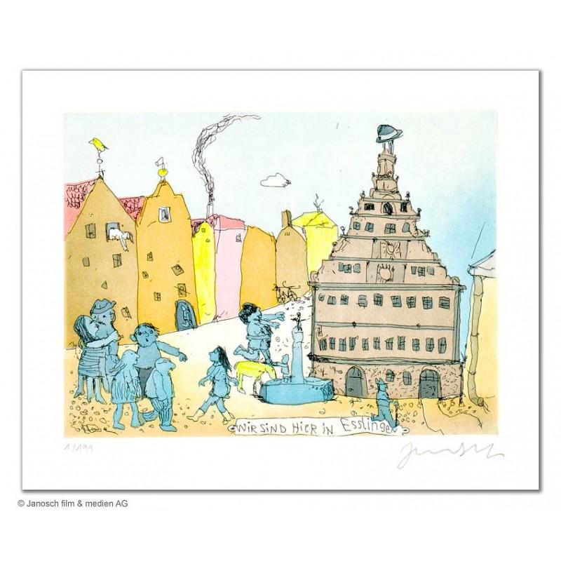 """Original Bild """"Wir sind hier in Esslingen"""" von Janosch - Kunst mit Zertifikat kaufen"""