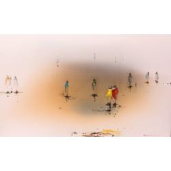 Original Gemälde von Paul Kaminski Menschen im Watt ca. 90x150 cm