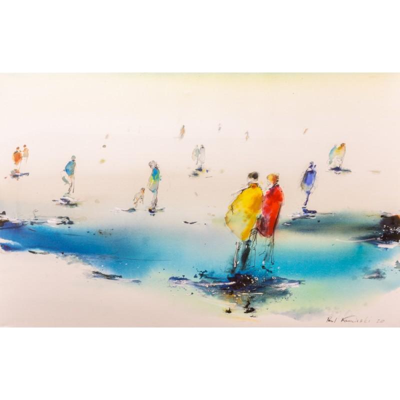 Original Gemälde von Paul Kaminski Menschen im Watt ca. 90x140 cm