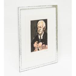 Rahmen Silber glanz auf Schwarz für Armin Mueller-Stahl aufgelegt auf Passepartout