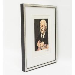 Rahmen Silber matt marmoriert auf Schwarz für Armin Mueller-Stahl schwebend positioniert