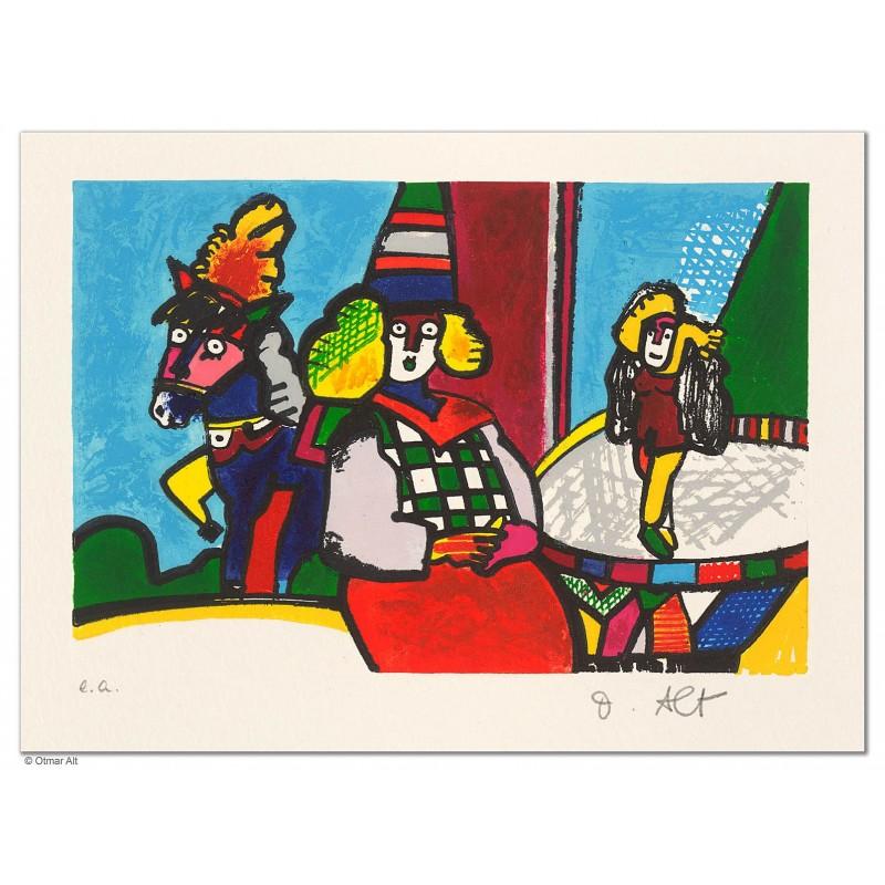 """Original Bild """"ZIRKUS ZIRKUS  - GROSSES FINALE"""" von Otmar Alt - Kunst mit Zertifikat kaufen"""