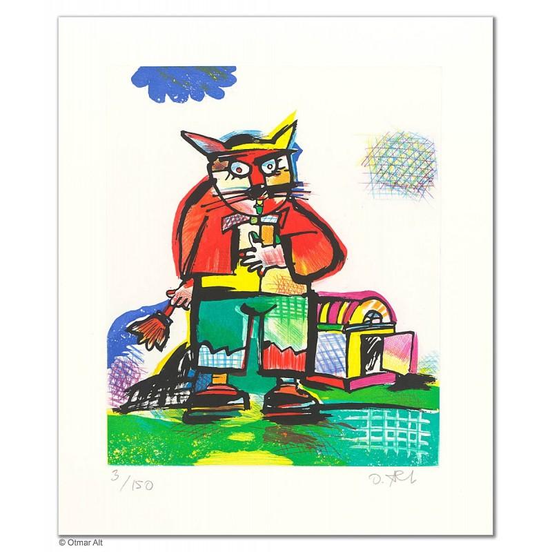"""Original Bild """"BALDUINS NEUES ZUHAUSE"""" von Otmar Alt - Kunst mit Zertifikat kaufen"""