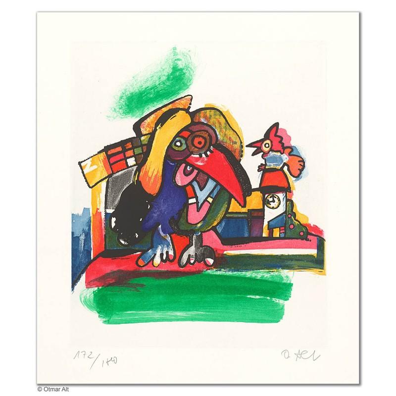 """Original Bild """"DIE FREUNDIN DES WETTERHAHNS"""" von Otmar Alt - Kunst mit Zertifikat kaufen"""