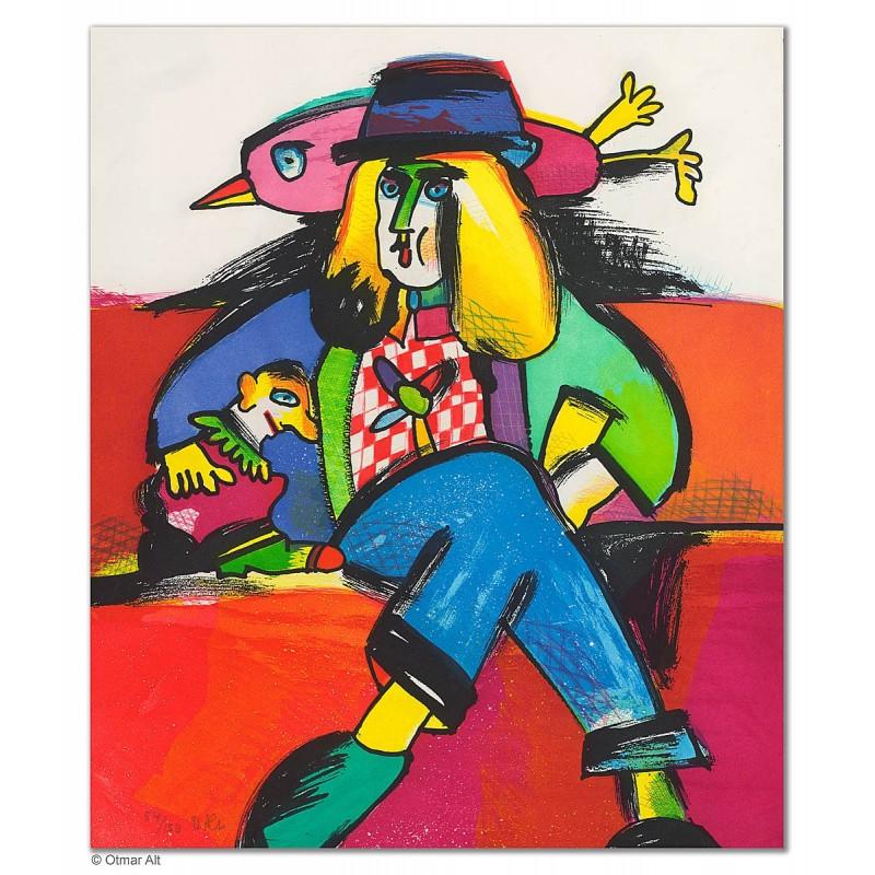 """Original Bild """"DIE U-BAHNFAHRT"""" von Otmar Alt - Kunst mit Zertifikat kaufen"""