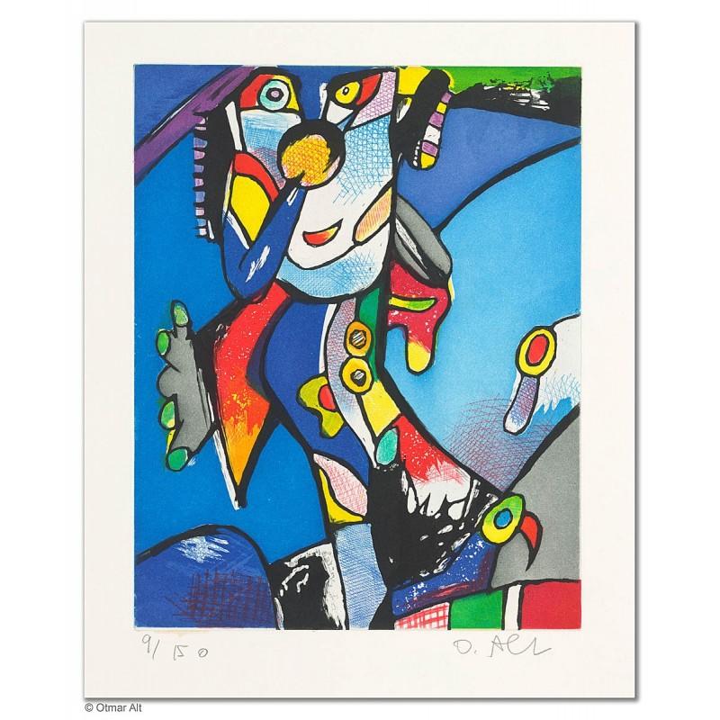"""Original Bild """"ONKEL PELLE - BLAU"""" von Otmar Alt - Kunst mit Zertifikat kaufen"""