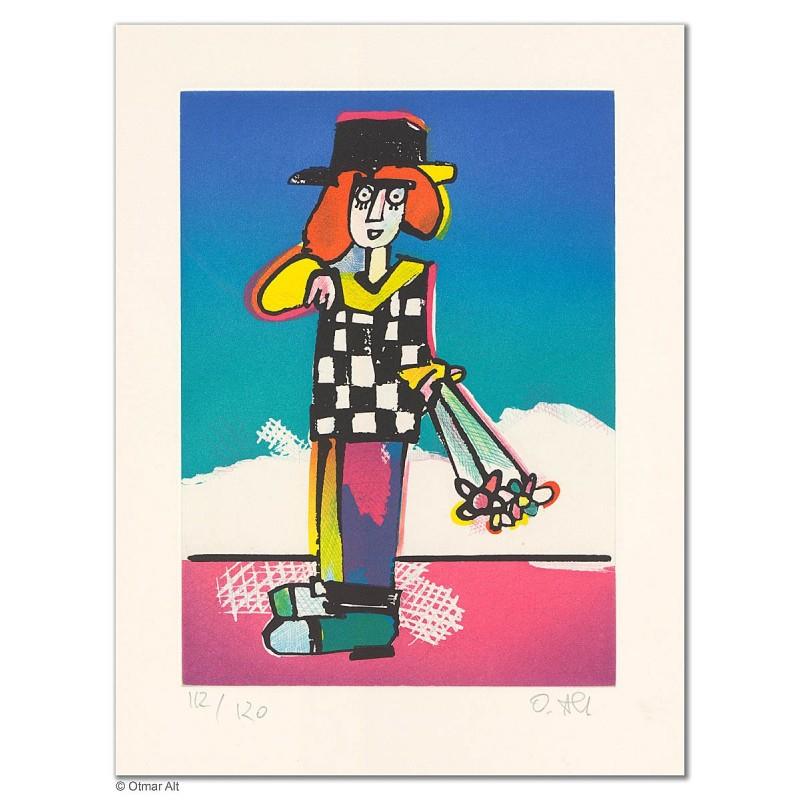 """Original Bild """"PAUL MIT BLUME"""" von Otmar Alt - Kunst mit Zertifikat kaufen"""