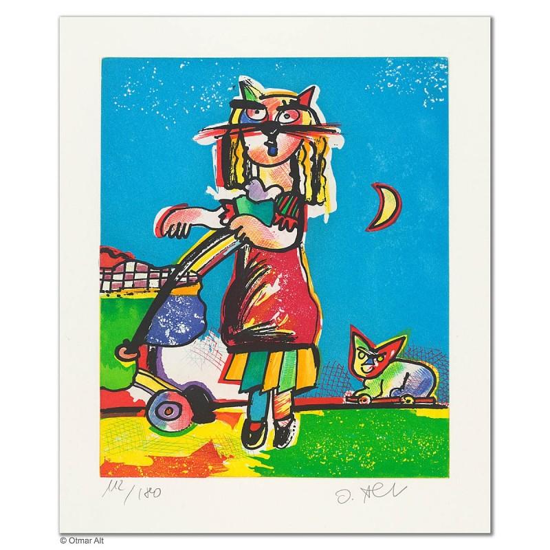 """Original Bild """"SPAZIERGANG (PIPA)"""" von Otmar Alt - Kunst mit Zertifikat kaufen"""