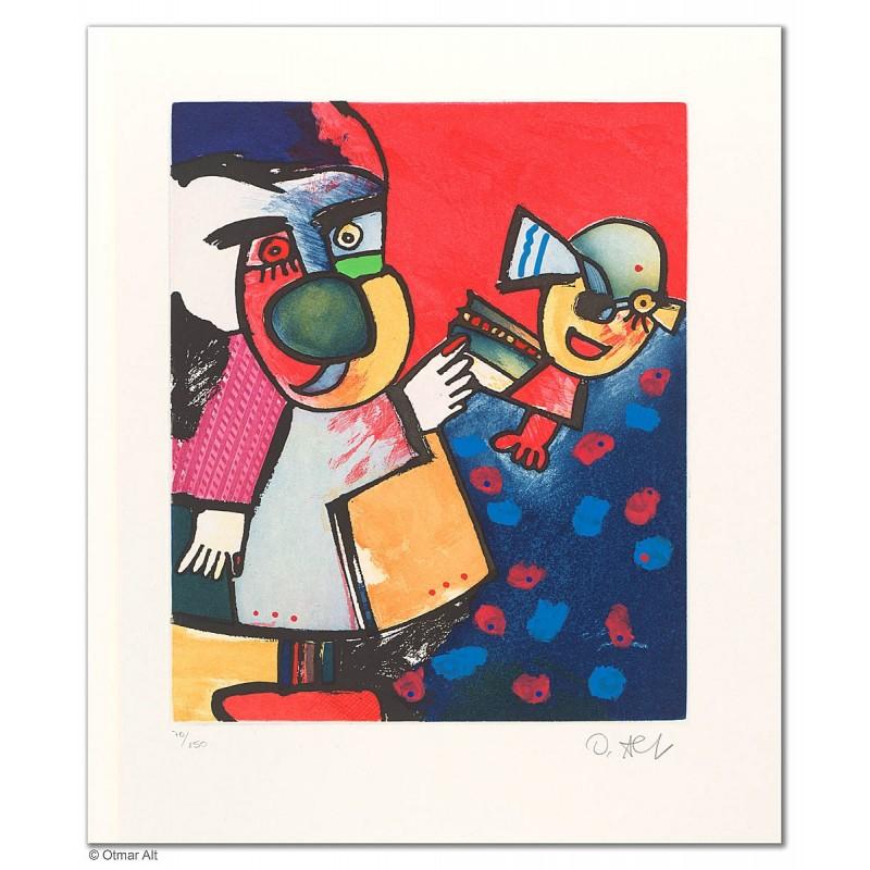 """Original Bild """"HERMES MIT NACHWUCHS"""" von Otmar Alt - Kunst mit Zertifikat kaufen"""