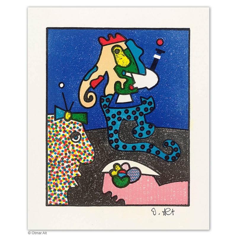 """Original Bild """"Spaziergang in Blau"""" von Otmar Alt - Kunst mit Zertifikat kaufen"""