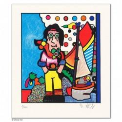 """Original Bild """"DER JUNGE MANN UND DAS MEER - HELLBLAU"""" von Otmar Alt - Kunst mit Zertifikat kaufen"""
