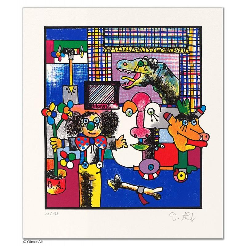 """Original Bild """"DER VERZAUBERTE ARCHÄOLOGE"""" von Otmar Alt - Kunst mit Zertifikat kaufen"""