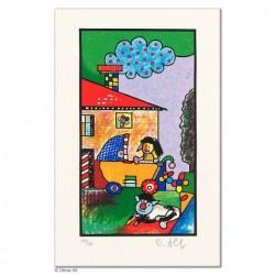 """Original Bild """"FAMILIENGLÜCK - DIE KINDER ROSA"""" von Otmar Alt - Kunst mit Zertifikat kaufen"""
