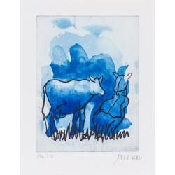 Armin Mueller-Stahl Kunst Bild kaufen Die Blaue Kuh (Auf der Weide) | handsigniertes Original