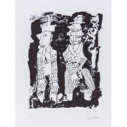 Armin Mueller-Stahl Kunst Bild kaufen Pierrot und Harlekin | handsigniertes Original