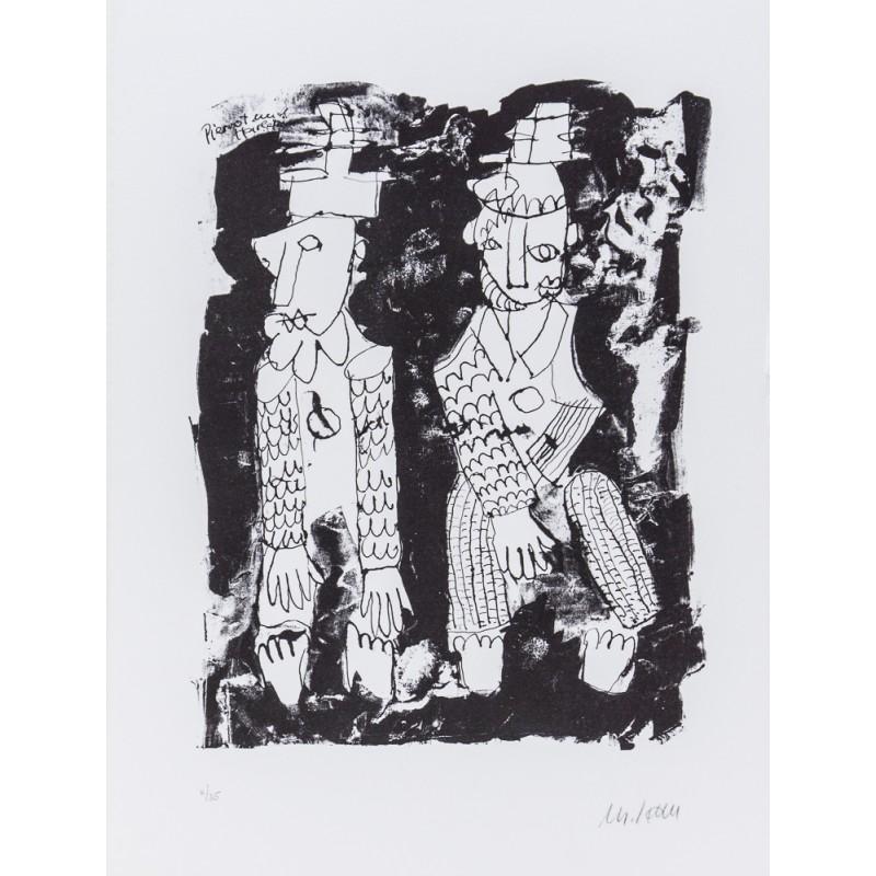 Armin Mueller-Stahl Kunst Bild kaufen Pierrot und Harlekin   handsigniertes Original