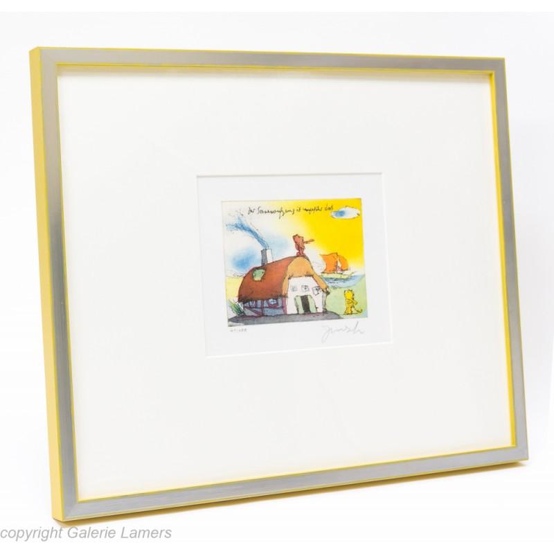 Silber matt Kanten Gelb durchrieben am Beispiel von Janosch-Bild
