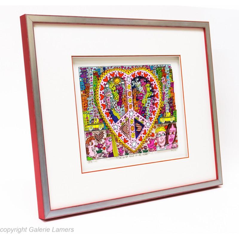 James Rizzi 3D Bild kaufen The best peace of my heart mit Rot-Silber-Rahmen
