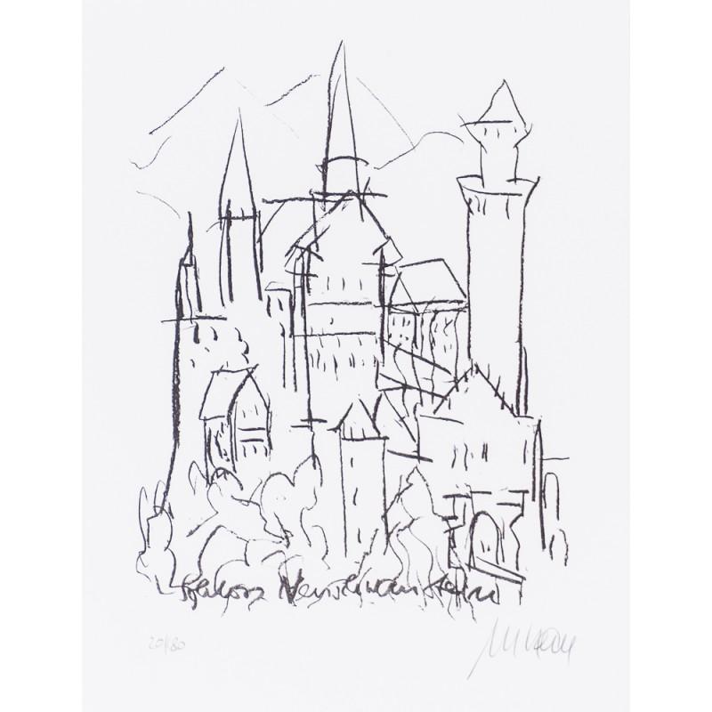 Armin Mueller-Stahl Schloss Neuschwanstein handsigniertes Original Kunst Bild kaufen
