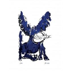 """Armin Mueller-Stahl """"Pegasus mit Lautenspieler"""" handsigniertes  Original Kunst Bild kaufen"""